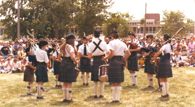Downsview Junior Pipe Band, competing, grade 4, Alma, Michigan, May, 1977