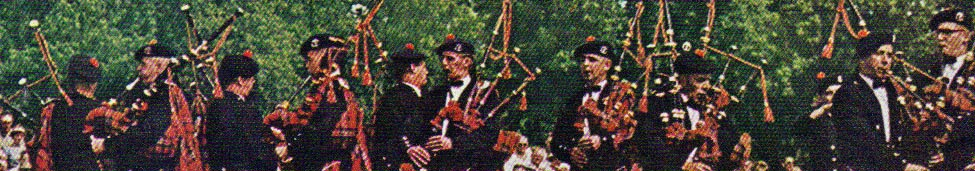 Close-up of the Worcester Kilties Pipe Band, Maxville, Ontario, 1960s