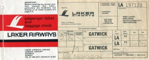 Freddy Laker Airlines Ticket