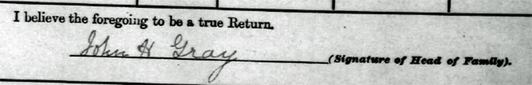 john henry gray signature on 1901 irish census