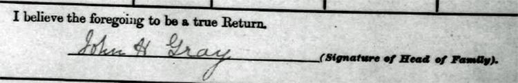 john henry gray signature on 1901 irish census