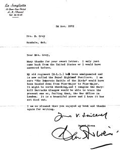 David Niven letter