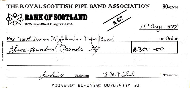 1987 grade one world pipe band champion cheque