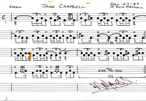 drum score for the strathspey Jane Campbell by J Reid  Maxwell